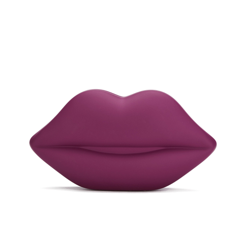 Lulu Guinness Women's Powder Coated Lips Clutch - Cassis