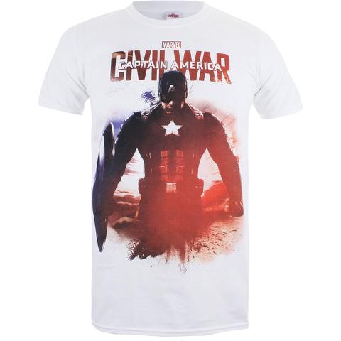 Marvel Men's Captain America Civil War Stance T-Shirt - White