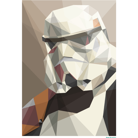 Star Wars Storm Trooper Inspired Illustrated Art Print - 11.7 x 16.5 Inches