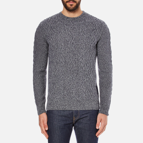 Barbour Heritage Men's Barnard Cable Knitted Jumper - Denim Mix