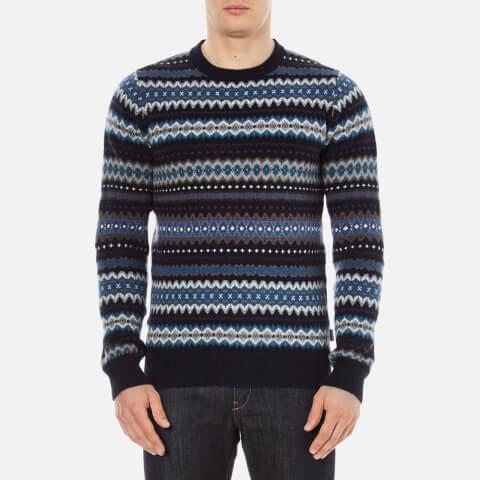 Barbour Heritage Men's Caistown Fairisle Knitted Jumper - Navy
