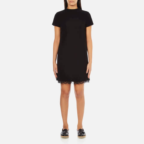 Theory Women's Jasneah Admiral Crepe Light Shift Dress with Lace - Black