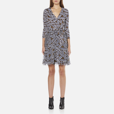 Diane von Furstenberg Women's Irina Dress - Ribbon Rectangles Khaki