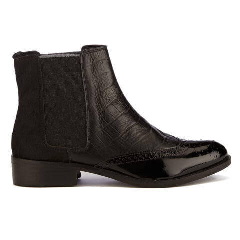 Dune Women's Quentin Leather Mix Brogue Chelsea Boots - Black