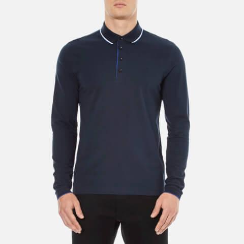 BOSS Green Men's C-Tivoli Long Sleeve Polo Shirt - Blue