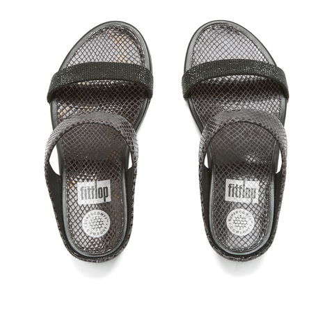 FitFlop Women's Banda Crystal Imi-Snake Slide Sandals - Black
