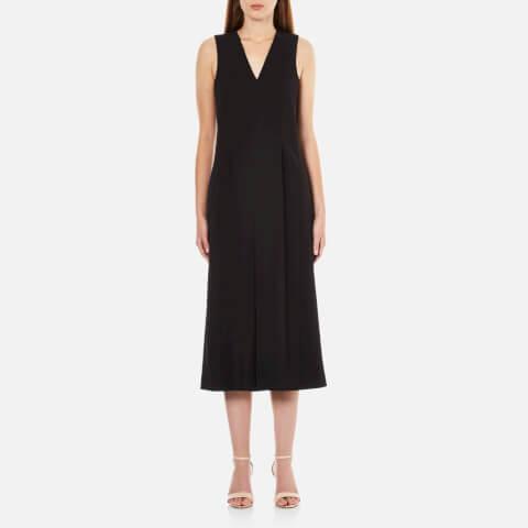 T by Alexander Wang Women's Stretch Poly Twill V Neck Gaucho Romper Dress - Black