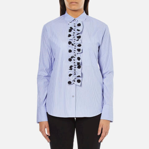 PS by Paul Smith Women's Ruffle Front Shirt - Blue