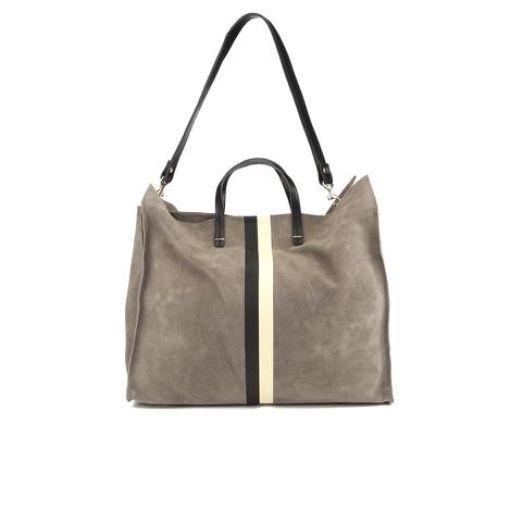 Clare V. Women's Supreme Simple Tote Bag - Dark Grey Suede With Black/White Stripes