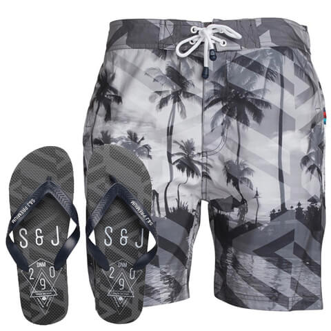 Smith & Jones Men's Onshore Swim Shorts & Flip Flops - Black