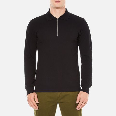 GANT Rugger Men's Zipped Pique Polo Shirt - Black
