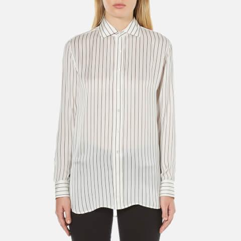 Polo Ralph Lauren Women's Joa Striped Long Sleeve Shirt - Oyster/Grey