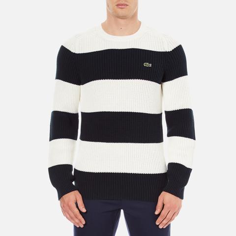 Lacoste Men's Crew Neck Stripe Sweatshirt - Navy Blue/Flour