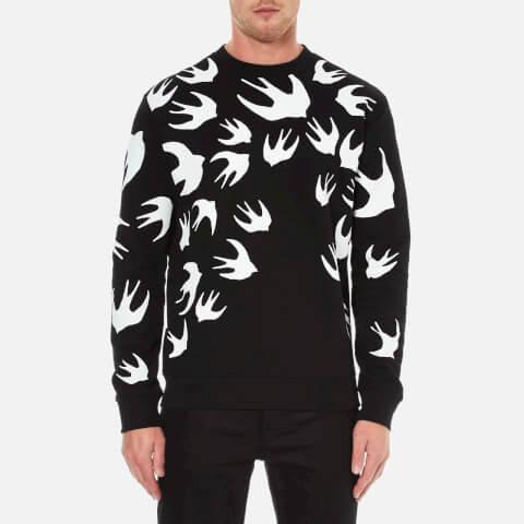 McQ Alexander McQueen Men's Swallow Print Clean Crew Neck Sweatshirt - Darkest Black
