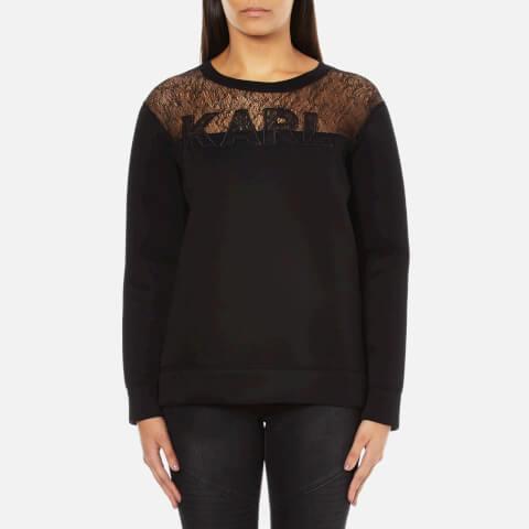 Karl Lagerfeld Women's Karl Lace & Neoprene Sweatshirt - Black