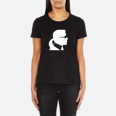 Karl Lagerfeld Women's Ikonic Karl Head Crew Neck T-Shirt - Black
