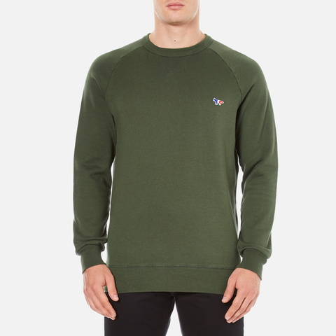 Maison Kitsuné Men's Tricolor Patch Sweatshirt - Khaki