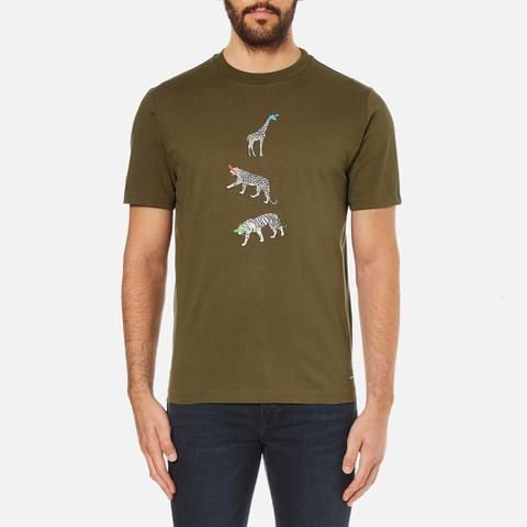 PS by Paul Smith Men's Crew Neck Short Sleeve Animal Logo T-Shirt - Khaki