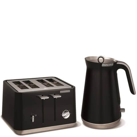Morphy Richards Aspect Steel 4 Slice Toaster and Kettle Bundle - Black