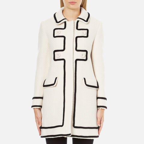 Boutique Moschino Women's Long Contrast Lightweight Coat - White