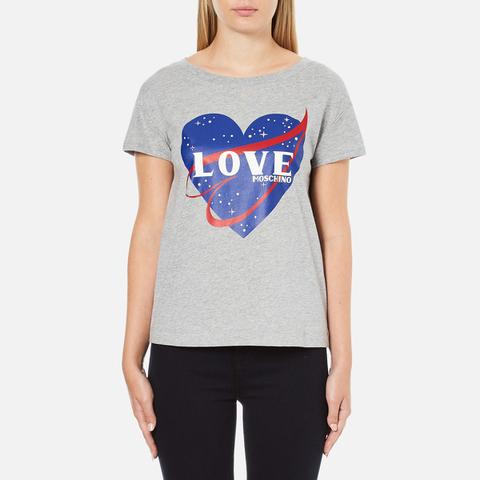 Love Moschino Women's Love Heart T-Shirt - Medium Grey