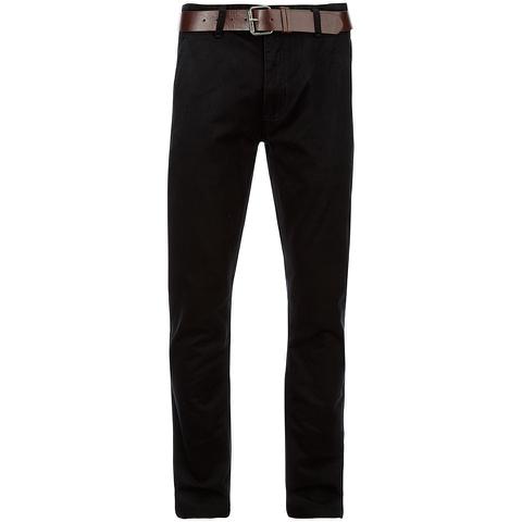Smith & Jones Men's Ashlar Belted Slim Fit Chinos - Black Twill