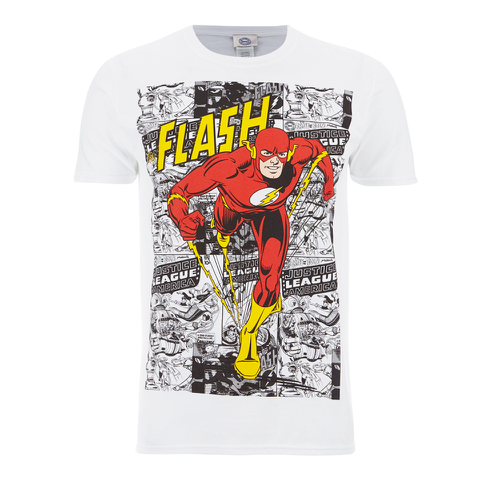 DC Comics Mens The Flash Comic Strip T-Shirt - Wit