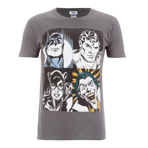 DC Comics Men's Batman Face T-Shirt - Grey