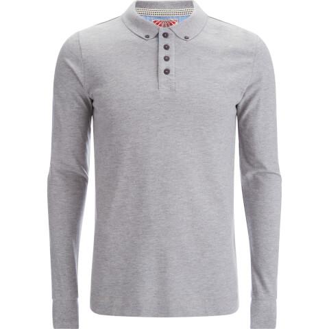 Tokyo Laundry Men's Lake Nevada Long Sleeve Polo Shirt - Light Grey Marl