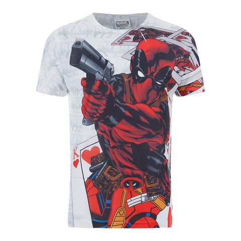 Marvel Mens Deadpool Cards T-Shirt - Wit