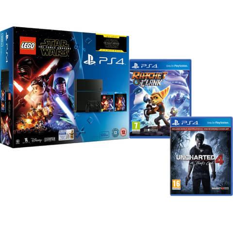 Sony PlayStation 4 500GB - Includes LEGO Star Wars: The Force Awakens, Star Wars: The Force Awakens, Ratchet & Clank + Uncharted 4