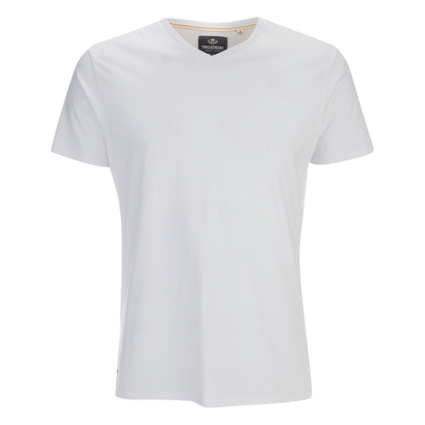 Threadbare Men's Charlie Plain V-Neck T-Shirt - White