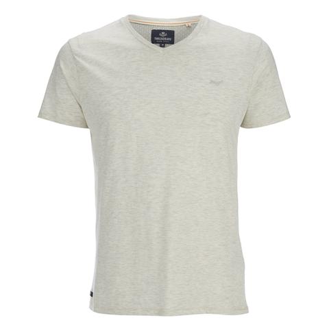 Threadbare Men's Charlie Plain V-Neck T-Shirt - Ecru Marl