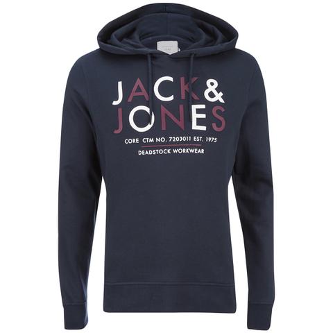 Jack & Jones Men's Core Noah Print Hoody - Navy Blazer