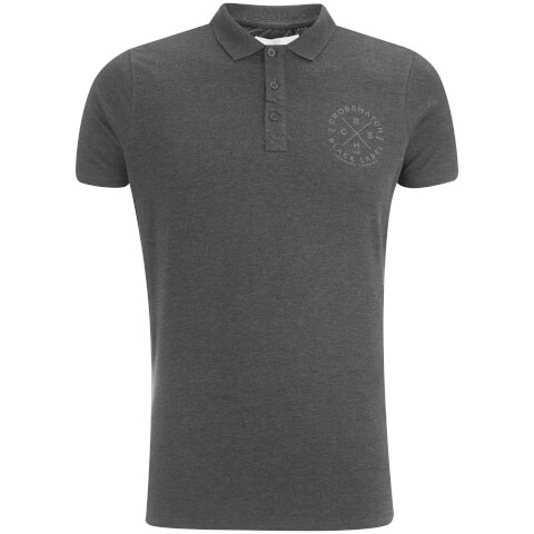 Crosshatch Men's Cultize Stamp Polo Shirt - Charcoal Marl