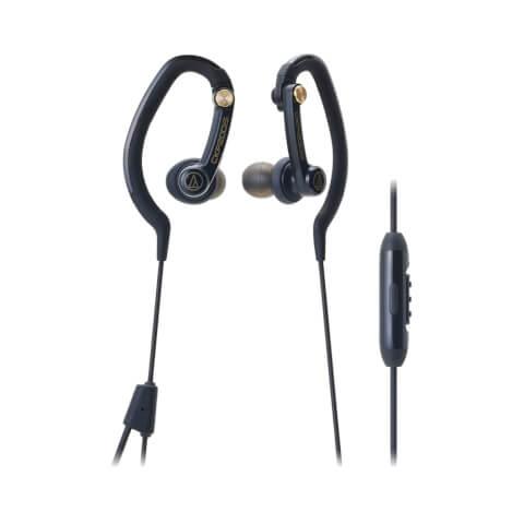 Audio-Technica Sports Hook Earphones with Mic - Black