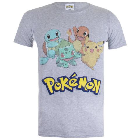 Pokemon Men's Starters T-Shirt - Sport Grey