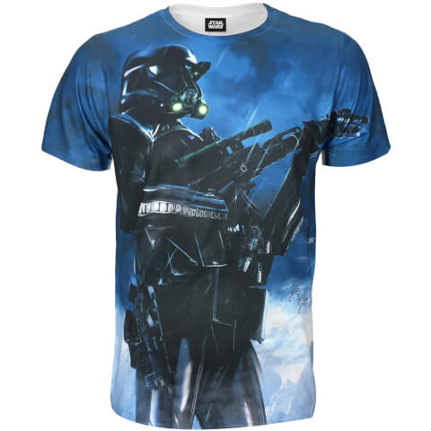 Star Wars: Rogue One Men's Battle Stance Death Trooper T-Shirt - Blue