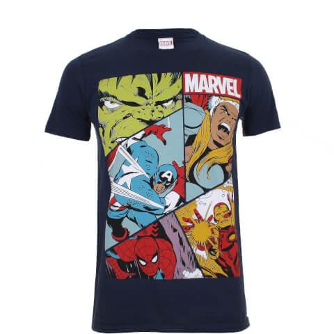 Marvel Boys' Heroes Grid T-Shirt - Navy