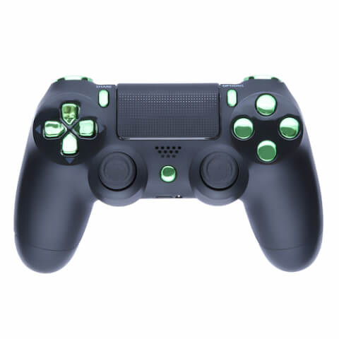 Playstation 4 Custom Controller - Matte Black & Chrome Green