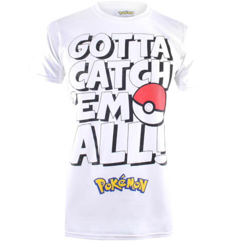 Pokemon Men's Gotta Catch Em Text T-Shirt - White