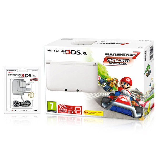nintendo 3ds xl white with mario kart 7 preinstalled. Black Bedroom Furniture Sets. Home Design Ideas