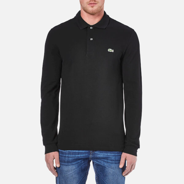 Lacoste men 39 s long sleeve polo shirt black free uk for Longer length mens polo shirts