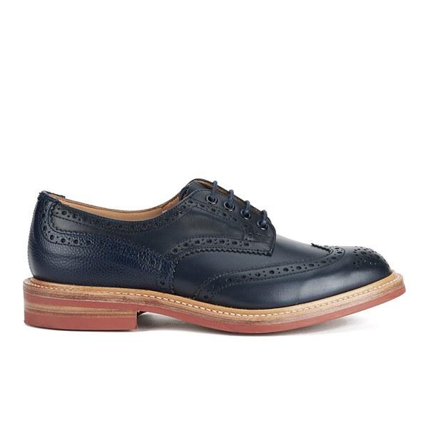 Tricker's Men's Bourton Leather Brogues - Navy Calf/Navy Grain