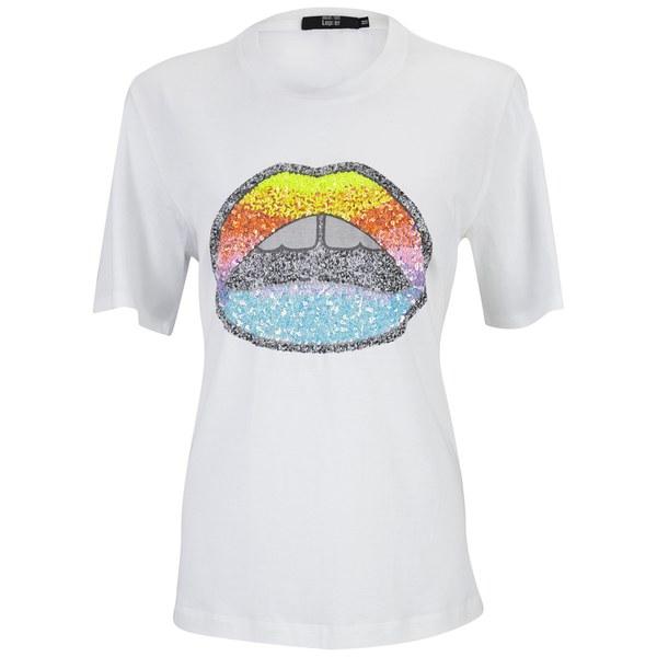 Markus Lupfer Women 39 S Glitter Rainbow Sequin Lip T Shirt