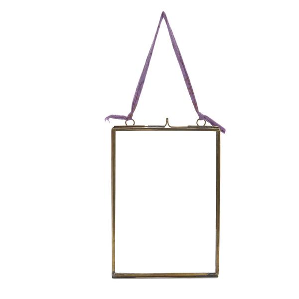 Nkuku Kiko Antique Brass Glass Frame - Portrait 5x7 Inches