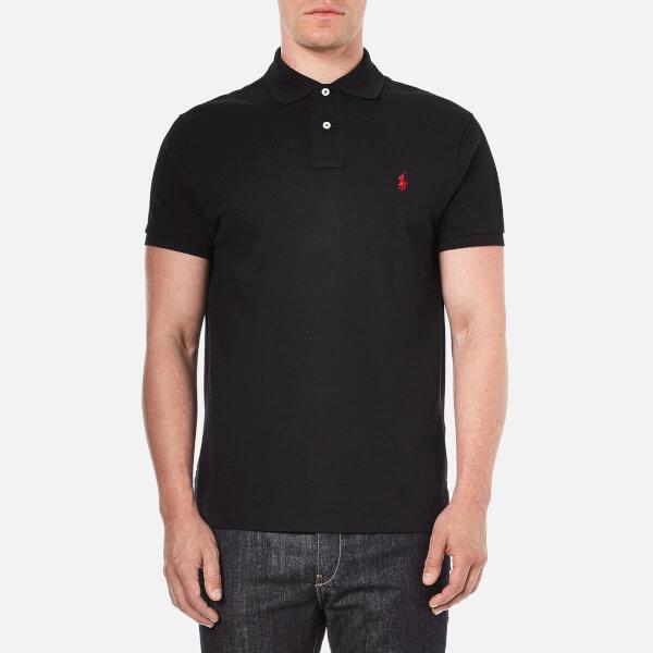 Polo Ralph Lauren Men's Custom Fit Short Sleeved Polo Shirt- Pl Black- Red