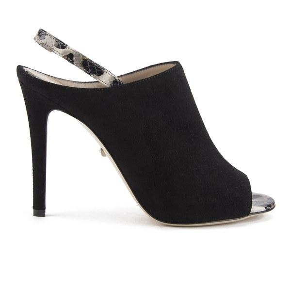 Diane von Furstenberg Women's Violet Suede Peep Toe Slingback Heels - Black/Cheetah Print