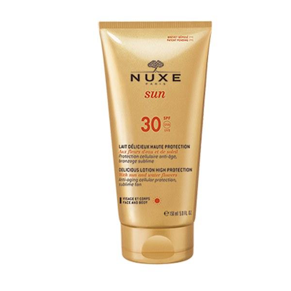 Loción solar para rostro y cuerpo Delicious SPF 30 de Nuxe (150 ml)