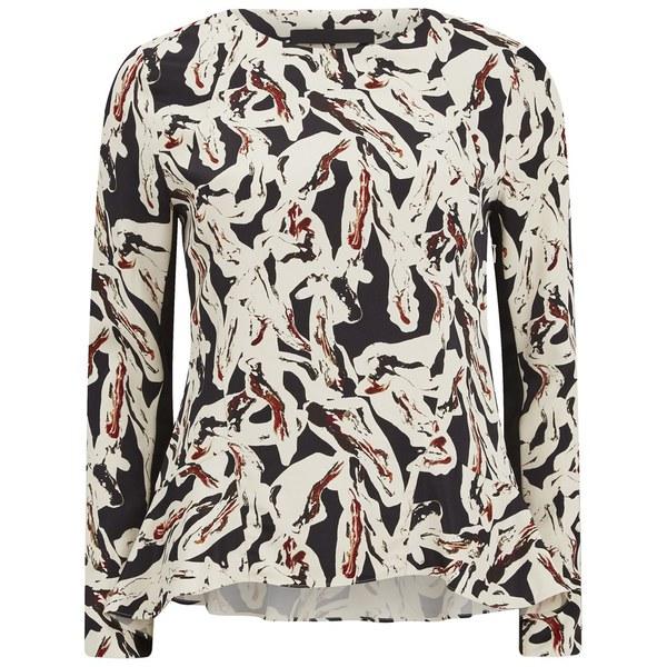 Karl Lagerfeld Women's Swirl Printed Long Sleeve Top - Paint Swirl